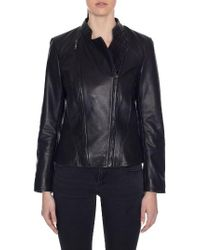 Tahari   Black Carry Dual Zip Front Leather Jacket   Lyst
