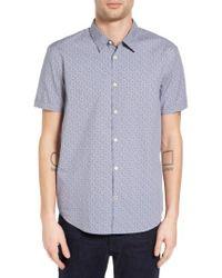 John Varvatos - Blue Mayfield Slim Fit Print Sport Shirt for Men - Lyst