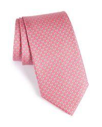 Ferragamo | Pink Bow Print Silk Tie for Men | Lyst