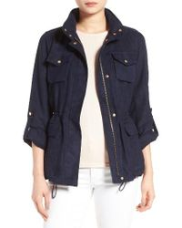 Vince Camuto | Blue Faux Suede Utility Jacket | Lyst
