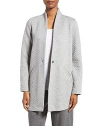 Eileen Fisher | Gray Quilted Jersey Stand Collar Jacket | Lyst