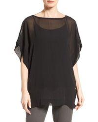Eileen Fisher | Black Bateau Neck Silk Boxy Top | Lyst