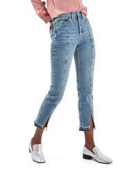 TOPSHOP Blue Split Hem Straight Leg Jeans
