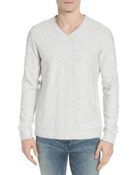 Lucky Brand | Gray Slub V-neck Sweater for Men | Lyst