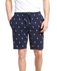 Polo Ralph Lauren - Blue Cotton Sleep Shorts for Men - Lyst