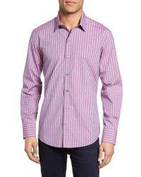 Zachary Prell   Pink Trim Fit Plaid Sport Shirt for Men   Lyst