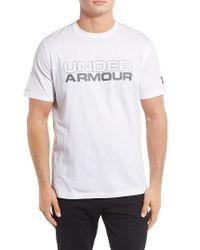 Under Armour | White Stacked Wordmark Regular Fit T-shirt for Men | Lyst