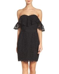Adelyn Rae | Black Strapless Lace Dress | Lyst