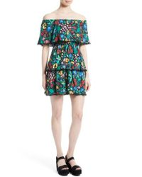Alice + Olivia Black Tylie Tiered Ruffle Floral Dress