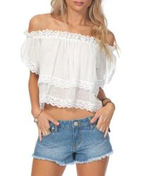 Rip Curl | White Atlas Off The Shoulder Crop Top | Lyst