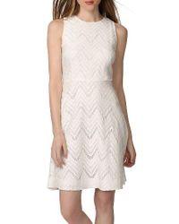 Donna Morgan | White Chevron Lace Fit & Flare Dress | Lyst