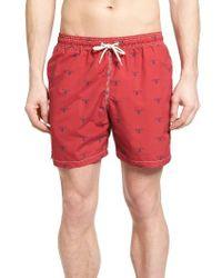 Barbour - Red Beacon Print Swim Trunks for Men - Lyst