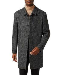 TOPMAN - Gray Textured Mac Jacket for Men - Lyst