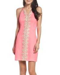Lilly Pulitzer | Pink Lilly Pulitzer Pearl Embroidered Sheath Dress | Lyst