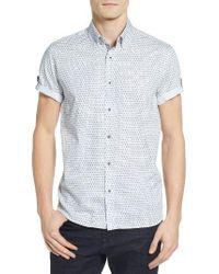 Ted Baker | White Braaks Extra Trim Fit Flower Print Sport Shirt for Men | Lyst