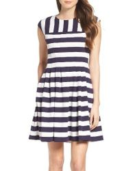 Vince Camuto | Blue Stripe Fit & Flare Dress | Lyst
