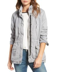 James Perse | Gray Stretch Twill Utility Jacket | Lyst
