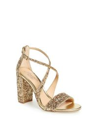 Badgley Mischka | Metallic Cook Block Heel Glitter Sandal | Lyst