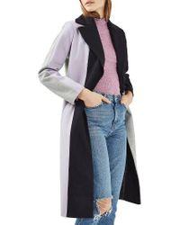 TOPSHOP | Multicolor Colorblock Wool Blend Coat | Lyst