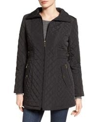 Gallery | Black Side Tab Quilted Coat | Lyst