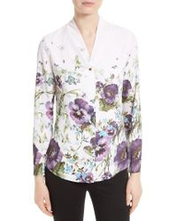 Ted Baker | Pink Elizay Floral Print Blouse | Lyst