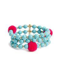 BaubleBar - Blue Grenada Pompom Stretch Bracelet - Lyst
