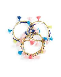 BaubleBar | Blue Indy Set Of 7 Stretch Bracelets | Lyst