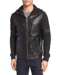 Lamarque | Black Leather & Jersey Zip Front Hoodie for Men | Lyst