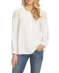 1.STATE | White Sheer Shoulder Henley Top | Lyst