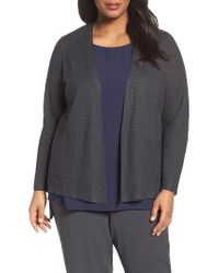 Eileen Fisher | Gray Organic Linen Open Front Cardigan | Lyst