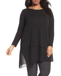 Eileen Fisher | Black Stretch Silk Jersey & Crepe Tunic | Lyst