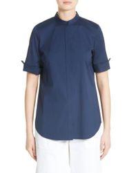 Lafayette 148 New York | Blue Theodora Stretch Cotton Blend Top | Lyst