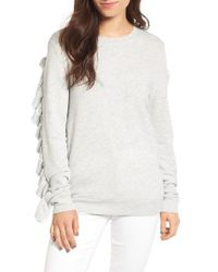 Hinge | Gray Ruffle Sleeve Sweatshirt | Lyst