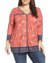 Lucky Brand   Red Contrast Piped Floral Border Top   Lyst
