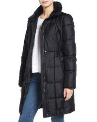 Lauren by Ralph Lauren | Gray Faux Fur Trim Side Tab Quilted Coat | Lyst
