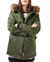 TOPSHOP   Green Jess Parka With Faux Fur Trim   Lyst