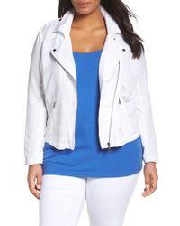 NIC+ZOE | Blue Linen Blend Biker Jacket | Lyst