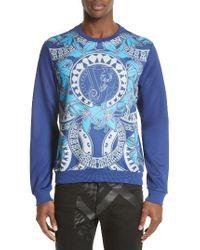 Versace Jeans Blue Hawaii Print Scuba Sweatshirt for men