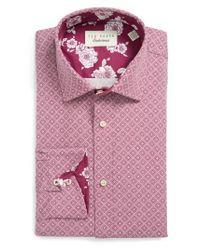 Ted Baker | Pink Endurance Trim Fit Dress Shirt for Men | Lyst