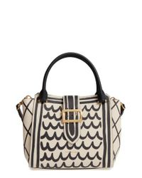 41e5f983aa84 Lyst - Burberry Medium Buckle Graphic Leather Tote in Black