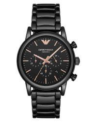 Emporio Armani | Men's Chronograph Luigi Black Ceramic Bracelet Watch 43mm Ar1509 for Men | Lyst