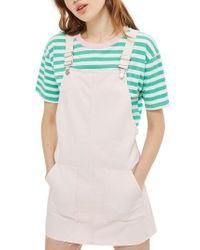 TOPSHOP - Pink Denim Pinafore Dress - Lyst