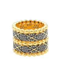 Freida Rothman | Metallic Baroque Blues Set Of 5 Stackable Rings | Lyst