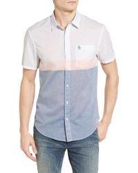 Original Penguin | Blue Heritage Slim Fit Colorblock Lawn Sport Shirt for Men | Lyst