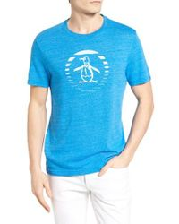 Original Penguin | Blue Ombre Stripe Circle Graphic T-shirt for Men | Lyst