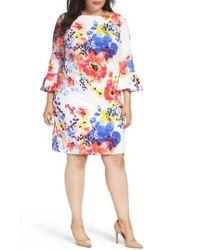 Tahari - Multicolor Floral Print Shift Dress - Lyst