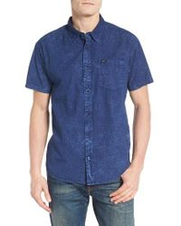 RVCA | Blue Acid Rain Trim Fit Denim Shirt for Men | Lyst