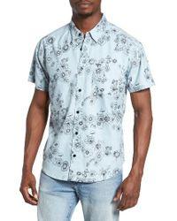RVCA | Blue Print Woven Shirt for Men | Lyst