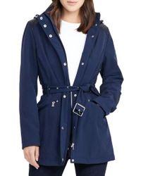 Lauren by Ralph Lauren - Blue Belted Hooded Soft Shell Jacket - Lyst