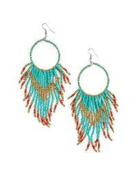 Cara | Blue Beaded Circle Drop Earrings | Lyst